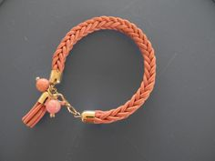 pink leather braided bracelet made by Lena