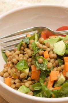 Recipe including course(s): Entrée; and ingredients: bay leaf, black pepper, carrots, celery, garlic, lemon juice, lentil, olive oil, parsley, red onion, salt, thyme