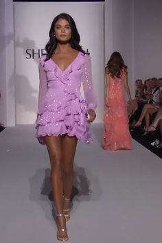 Sherri Hill Style 52937 Purple Ruffled Chiffon Cocktail Mini Dress / Short Dress with Long Sleeves and Open Back. Spring Summer 2019 Runway Collection by Sherri Hill on FF Channel Club Dresses, Sexy Dresses, Fashion Dresses, Dresses For Work, Elegant Dresses, Ruffled Dresses, Tight Dresses, Formal Dresses, Wedding Dresses