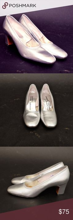 best quality 82ead 72083 1960s DEADSTOCK Italics by Valley Silver Pumps Head into the disco age with  these, deadstock