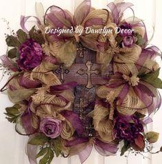 Plum and Sage Green Wreath Deco Mesh Wreath Burlap by DawslynDecor, $127.00