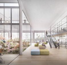 Competition in Kulmbach decided / Headquarters in old spinning mill - Architecture and architects - Architecture Visualization, Architecture Collage, Interior Architecture, Rendering Architecture, Library Architecture, School Architecture, Office Interior Design, Office Interiors, Kindergarten Design