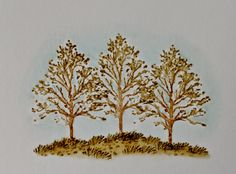 Art Impressions wonderful watercolor.  Handmade water color card with trees.