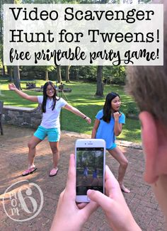 hunts using phones seem to pretty popular these days for get togethers as well as for kids birthday parties! So how excited would your kids be to host their own video scavenger hunt for their friends? Here's the free printable party game you need! Camping Party Games, Tween Party Games, Outdoor Party Games, Sleepover Games, Holiday Party Games, Fun Games, Awesome Games, Camping Theme, Camping Stuff