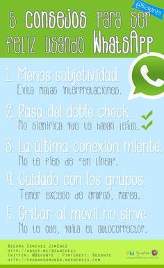 5 consejos para ser feliz usando Whatsapp #infografia