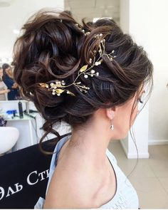 ELSTILE messy wedding updo hairstyle - Deer Pearl Flowers / http://www.deerpearlflowers.com/wedding-hairstyle-inspiration/elstile-messy-wedding-updo-hairstyle-2/
