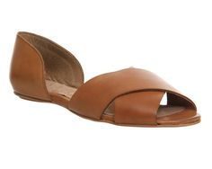 Office Lyric Cross Strap Pump Tan Leather - Flats