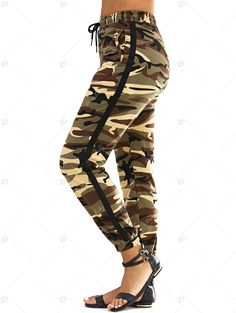 Fashionable Narrow Feet Lace-Up Camo Print Women's Pants - ARMY GREEN CAMOUFLAGE S