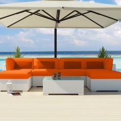 Uduka Outdoor Sectional Patio Furniture White Wicker Sofa Set Diani Orange All Weather Couch.  AMAZON.  amazon.com
