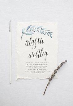 Organic Wedding Invitation Suite DEPOSIT, DIY, Rustic, Calligraphy, Bohemian…