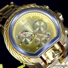 With the Reserve Bolt Zeus Magnum, the double-checking is done for you. Invicta Reserve, Awesome Watches, Art Watch, Big Face, Air Max 95, Gold Bands, Gold Watch, Futuristic, Watches For Men