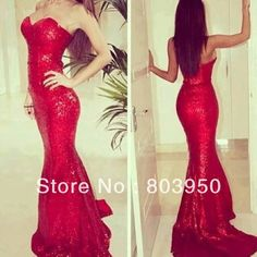 2014 New Sexy Sweetheart Sleeveless Red Sequined Lace Mermaid Long Prom Dresses Formal Elegant Evening Dress US $142.50