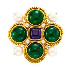 CHANEL Costume Byzantine-style Brooch | From a unique collection of vintage brooches at https://www.1stdibs.com/jewelry/brooches/brooches/