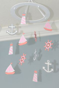 Nautical Nursery Mobile Custom Wooden Painted Sailboat Anchor Lighthouse Wheel Beach Theme Whimsical Boat Decor Baby Shower Gift Ocean Fish Girls White Pink Grey by FlutterBunnyBoutique #nursery #baby #itsagirl
