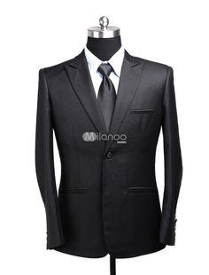 Black V-Neck Two-Button Cotton Blend Mens Suit. See More Mens Business Suits at http://www.ourgreatshop.com/Men-039-s-Business-Suits-C785.aspx