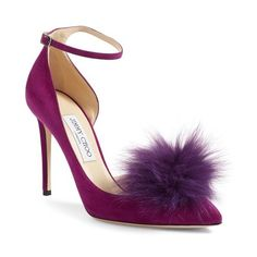 Women's Jimmy Choo Rosa Pump With Genuine Fox Fur Pom Charm ($895) ❤ liked on Polyvore featuring shoes, pumps, heels, purple, swarovski crystal shoes, purple shoes, jimmy choo shoes, d orsay shoes and beaded shoes