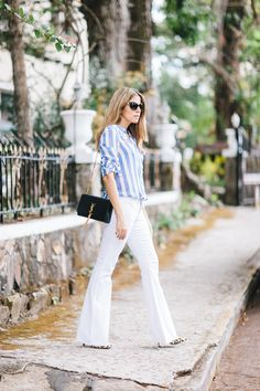 86e29d9c40 Blogger Maristella Gonzalez from A Constellation wearing Flared White Jeans