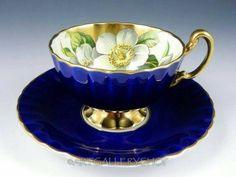 Teacup & Saucer | Gilded Magnolia on Blue
