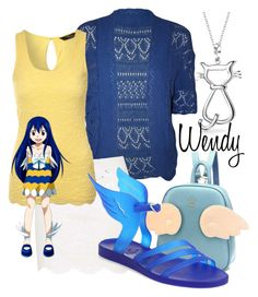 """""""Wendy from Fairy Tail"""" by laniocracy ❤ liked on Polyvore featuring Bling Jewelry, WearAll, Topshop, Jane Norman and Ancient Greek Sandals"""