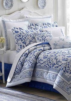 Laura Ashley makes beautiful bedding. They are quality, wash well and last. And most important, they feel really good! The blue and white Charlotte Collection includes a comforter set and duvet cov… Full Comforter Sets, Blue Comforter, King Comforter, Duvet Sets, Duvet Cover Sets, Floral Comforter, Yellow Bedding, Laura Ashley, Ashley Blue