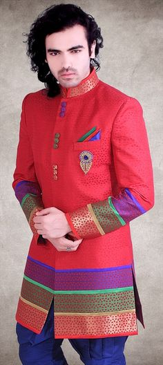 14292: Let your love wear the color of love - RED. For the #groom. Shop now! #indowestern #suit #sale #red