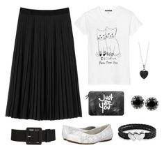 """Black pleated midi skirt"" by beavercity on Polyvore featuring Black Score, Rebecca Taylor, SoftWalk, Casetify, BERRICLE, Bling Jewelry, Betsey Johnson, women's clothing, women and female"