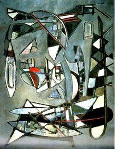 Composition sur fond gris by Nicolas de Staël Jean Arp, Abstract Landscape Painting, Landscape Paintings, Abstract Art, Georges Braque, Totems, Rembrandt, Vincent Van Gogh, Matisse