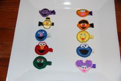 Felt Embroidered Sesame Street Hair by lilibirdbowtique on Etsy, $30.00