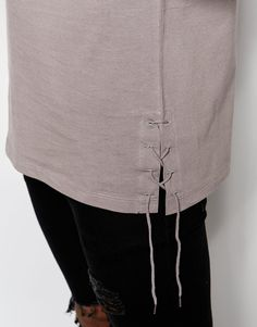 Image 3 of ASOS Longline Sleeveless T-Shirt With Lace Up Detail
