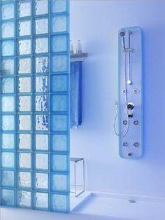 baños con bloques de vidrio y luces - Buscar con Google