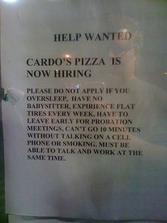 Possibly the best job ad ever.