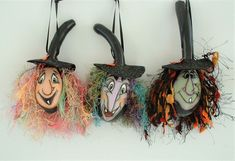 Halloween Gourds, Hand Painted Gourds, Black Ribbon, Witch, Ornaments, Mini, Etsy, Style, Swag