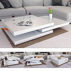 Deuba® Couchtisch Hochglanz weiß ✓360° drehbar ✓Cube Design ✓modern ✓80x80cm - Wohnzimmertisch Beistelltisch Design Lounge Tisch Sofatisch: Amazon.de: Küche & Haushalt
