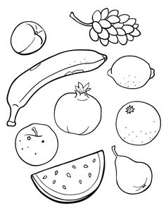 Printable fruit coloring page. Free PDF download at http://coloringcafe.com/coloring-pages/fruit/