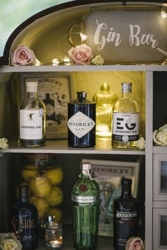 This is our Gin Bar... could be Prosecco, Rum, Craft Beer its up to you... Ashfield House exclusive wedding venue Thanks to Kerry Woods Photography for the lovely pic