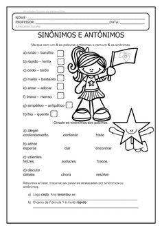 Sinônimos e Antônimos EM PDF | Atividades Pedagogica Suzano Portuguese Lessons, Education, Atv, School, English Activities For Kids, Reading Activities, Learning Activities, Synonyms And Antonyms, Dyslexia