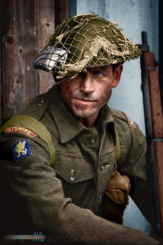 British Soldier of the Wiltshire regiment during WW2 colorized from a re-enactment.