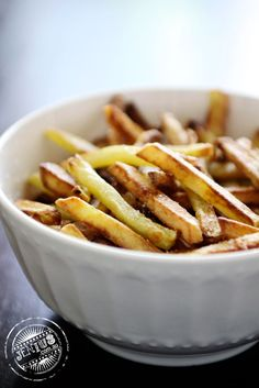 Aifryer Fries   For best results, waxy potatoes must be used. After the preparation process, where the spuds need to be cut into strips, soaked in cold water, patted dry and coated in a tablespoon of oil, they're pre-fried at a higher temperature, allowed to cool, and then fried a second time.    In total, the potatoes only spend about 15 minutes in the Airfryer and the results are beautiful non-greasy golden brown fries.