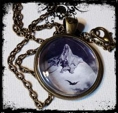 ANTIQUE GRIM REAPER . Glass Pendant Necklace . by girlgamegeek, $11.11
