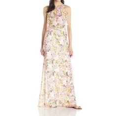 Jessica Simpson Pink Floral-Print Women's 10 Pop-Over Maxi Dress  available at #Loehmanns
