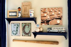 boys room wall collection. LOVE baseball stadium chair pic printed on canvas. initials found at Hobby Lobby.
