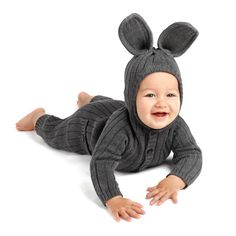 Bunny Onesie for Baby and Toddler - Handmade Woven Cotton Gray Rabbit Onesie - Designer Spencer Hansen for Blamo Toys