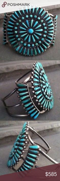 """Vintage Zuni Signed Turquoise Sterling Silver Cuff Vintage Old Pawn Zuni Native American Signed Turquoise Cluster Sterling Silver Bracelet Cuff. Fabulous quality turquoise gems are exhibited with master craftsmanship in the cuff's turquoise needlepoint & snake eye alternating rows  design. Accenting the design, round sterling beads embellish the cuff's center stone and sides. Designed and handcrafted by Zuni artist Vernon Wallace. The inner circumference measures 5.5"""" long with a 1.5"""" long…"""