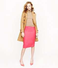 love the pink pencil skirt with camel!