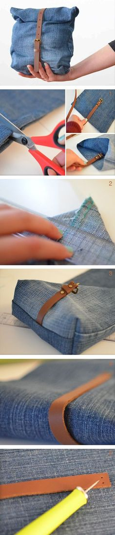 Most current Pictures Brown bag lunch, blue jean style Strategies I enjoy Jeans ! And much more I like to sew my own personal Jeans. Next Jeans Sew Along I am plann Diy Jeans, Diy Couture, Couture Sewing, Sewing Tutorials, Sewing Patterns, Bag Tutorials, Jean Diy, Denim Ideas, Recycled Denim