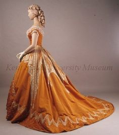 Evening dress by Worth, ca 1866--gorgeous