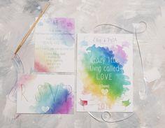 Watercolour Song Lyric Invite- Full Suite Sample £2.00