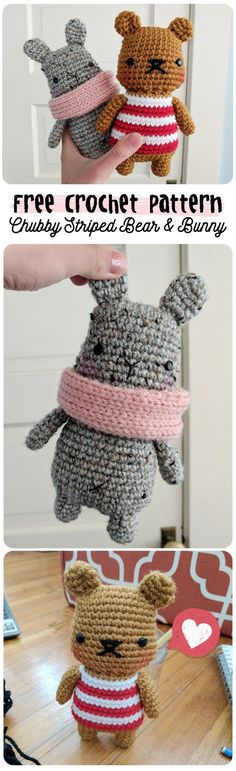 free crochet pattern: cute chubby striped amigurumi bear & bunny plushie stuffed animal