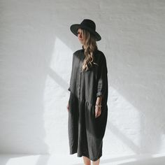 LINEN dress OVERSIZED dark grey LOOSE dress