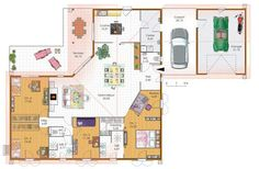 Nice Plan Maison 4 Chambres Sans Couloir that you must know, You?re in good company if you?re looking for Plan Maison 4 Chambres Sans Couloir Craftsman Floor Plans, Patio Plans, Garage, Home Jobs, Small House Plans, Architect Design, Interior Design Living Room, Planer, Sweet Home